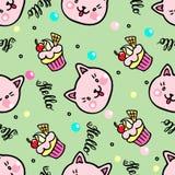 Sömlös modell för vektor med kattungar och muffin Hello bokstäver royaltyfri illustrationer