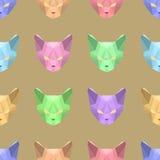 Sömlös modell för vektor med låga poly katter Royaltyfria Bilder