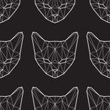 Sömlös modell för vektor med låga poly katter Royaltyfri Foto