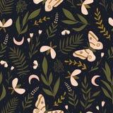 Sömlös modell för vektor med malar och nattfjärilen Härligt romantiskt tryck Mörk botanisk design stock illustrationer