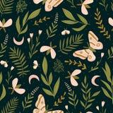 Sömlös modell för vektor med malar och nattfjärilen Härligt romantiskt tryck Mörk botanisk design royaltyfri illustrationer