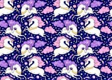 Sömlös modell för vektor med mytiska djur Snabbt växande gulliga vita enhörningar med det guld- hornet, rosa färger, violett man, royaltyfri illustrationer