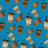 Sömlös modell för vektor med plast- koppar för kaffe Royaltyfria Bilder