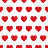 Sömlös modell för vektor med röd hjärta i lägenhet Arkivbilder
