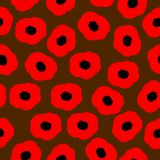 Sömlös modell för vektor med röda vallmo Arkivbilder