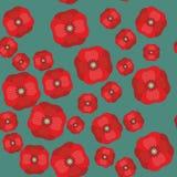 Sömlös modell för vektor med röda vallmo på färgbakgrund 599 Royaltyfria Bilder