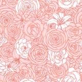 Sömlös modell för vektor med ros-, lilja-, pion- och krysantemumblommor av rosa och vita färger Utdraget blom- för hand stock illustrationer