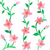 Sömlös modell för vektor med rosa blommor för vattenfärg på en vit bakgrund stock illustrationer