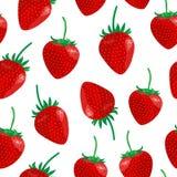 Sömlös modell för vektor med söta jordgubbar och sidor royaltyfri illustrationer