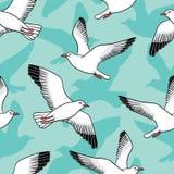 Sömlös modell för vektor med seagulls Royaltyfria Bilder