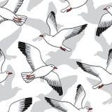 Sömlös modell för vektor med seagulls Royaltyfri Bild