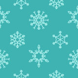 Sömlös modell för vektor med snöflingor vinter för blåa snowflakes för bakgrund vit Fotografering för Bildbyråer