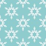 Sömlös modell för vektor med snöflingor vinter för blåa snowflakes för bakgrund vit Royaltyfri Illustrationer