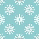 Sömlös modell för vektor med snöflingor vinter för blåa snowflakes för bakgrund vit Royaltyfri Bild