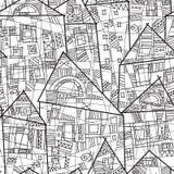 Sömlös modell för vektor med stiliserade hus i svartvitt royaltyfri illustrationer