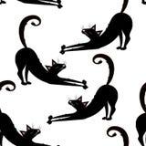 Sömlös modell för vektor med svarta katter, pott på den genomskinliga bakgrunden stock illustrationer