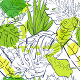 Sömlös modell för vektor med tropiska palmblad för översikt och vattenfärgfläckar Sommarnaturillustration royaltyfri illustrationer