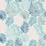 Sömlös modell för vektor med tropiska sidor Härligt tryck med utdragna exotiska växter för hand vektor illustrationer