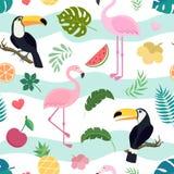 Sömlös modell för vektor med tukan och flamingo stock illustrationer