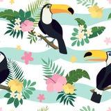 Sömlös modell för vektor med tukanfåglar på tropiska filialer med sidor och blommor royaltyfri illustrationer