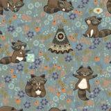 Sömlös modell för vektor med tvättbjörnar i tecknad film Royaltyfri Bild