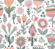 Sömlös modell för vektor med utsmyckade blommor Skandinaviska bevekelsegrunder royaltyfri illustrationer