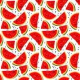 Sömlös modell för vektor med vattenmelon stock illustrationer