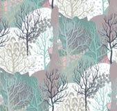 Sömlös modell för vektor med vinterskogen, abstrakt textur royaltyfri illustrationer
