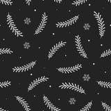 Sömlös modell för vektor med vita filialer för träd för Ñ-hristmas på svart bakgrund royaltyfri illustrationer