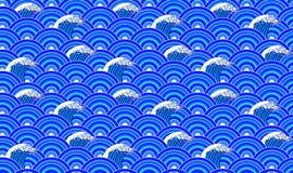 Sömlös modell för vektor: Orientalisk prydnad, hand drog vågor och blåttcirklar vektor illustrationer