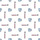 Sömlös modell för vektor på tand- tema Tänder och utrustning för tandläkare Använt för bakgrunder, tapetserar kort, stock illustrationer