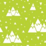 Sömlös modell för vektor som göras av berg, stjärnor och trianglar Arkivfoto