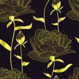 Sömlös modell för vektor, tryck med guld- pions, blommor och knoppar, sidor Elegant romantisk blom- textur Svart bakgrund är isol stock illustrationer