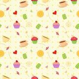 Sömlös modell för vektorefterrättmat med muffin, makron royaltyfri illustrationer