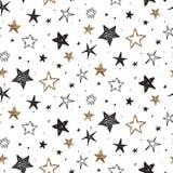 Sömlös modell för vektorferie med utdragna stjärnor för hand royaltyfri illustrationer