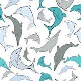 Sömlös modell för vektorhavsdelfin royaltyfri illustrationer