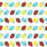 Sömlös modell för vektorillustration av den blåa röda och gula jordgubben arkivbilder