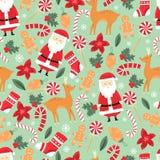 Sömlös modell för vektorjul med jultomten, jul ren, klubba, pepparkaka julen dekorerar nya home id?er f?r garnering till vektor illustrationer