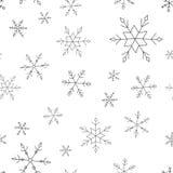 Sömlös modell för vektorjul med snöflingor vektor illustrationer