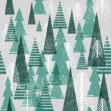 Sömlös modell för vektorvinterskog vita röda stjärnor för abstrakt för bakgrundsjul mörk för garnering modell för design Gröna tr vektor illustrationer