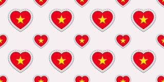 Sömlös modell för Vietnam flagga Vektorvietnames sjunker klistermärkear Förälskelsehjärtasymboler Textur för språkkurser stock illustrationer