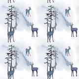 Sömlös modell för vinter i skog royaltyfri illustrationer