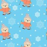 Sömlös modell för vinter med att skida för tecknad filmbjörn stock illustrationer