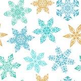 Sömlös modell för vinter med dekorativa snöflingor Royaltyfri Bild