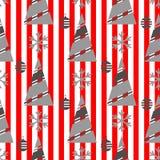Sömlös modell för vinterjul på en röd bakgrund med vita band vektor illustrationer