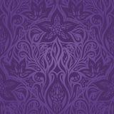 Sömlös modell för violett purpurfärgad tappning för blommor utsmyckad stock illustrationer