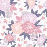 Sömlös modell för vit rosa purpurfärgad vår för rodnad blom- vektor illustrationer