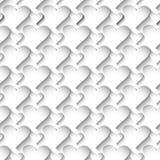 Sömlös modell för vita förälskelsehjärtor för vektor 3d Dekorativ yttersida stock illustrationer
