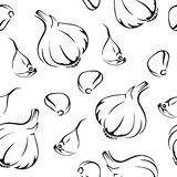 Sömlös modell för vitlök Svart vit bild stock illustrationer