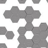 Sömlös modell för volymetrisk pyramid 3D sexhörning Optisk illusio Arkivfoto